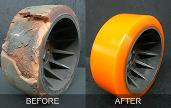 Polyurethane Wheels Before and After